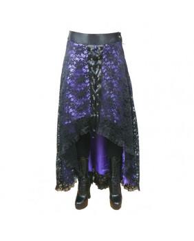 Jupe goth dentelle noire / satin violet