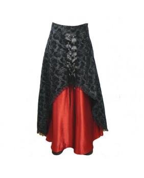 Jupe gothique brocard et satin rouge