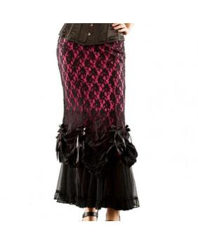 Jupe gothique rose / dentelle noire