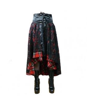 Jupes gothique longues écossaise rouge