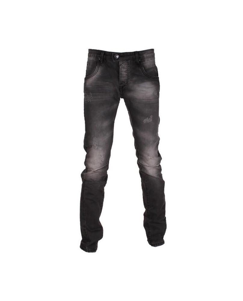 Jeans noir délavé et griffé