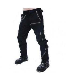 Pantalon noir avec boucles et zips TT1060