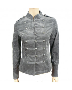 Veste rock velours gris