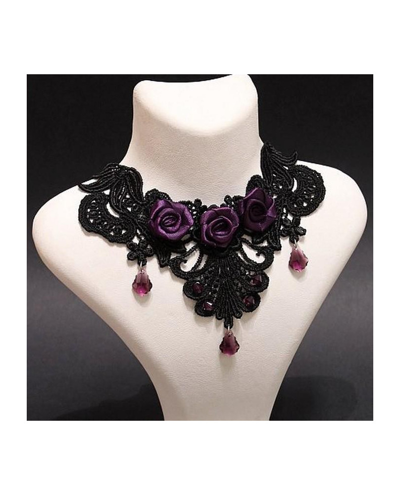 Collier broderie Purples roses