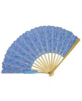Eventail lolita dentelle bleue