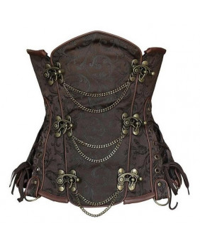Serre taille steampunk marron avec chaines