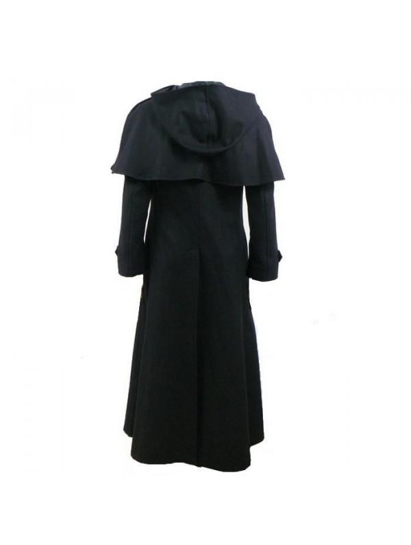 manteau cocher laine noir et capuche. Black Bedroom Furniture Sets. Home Design Ideas