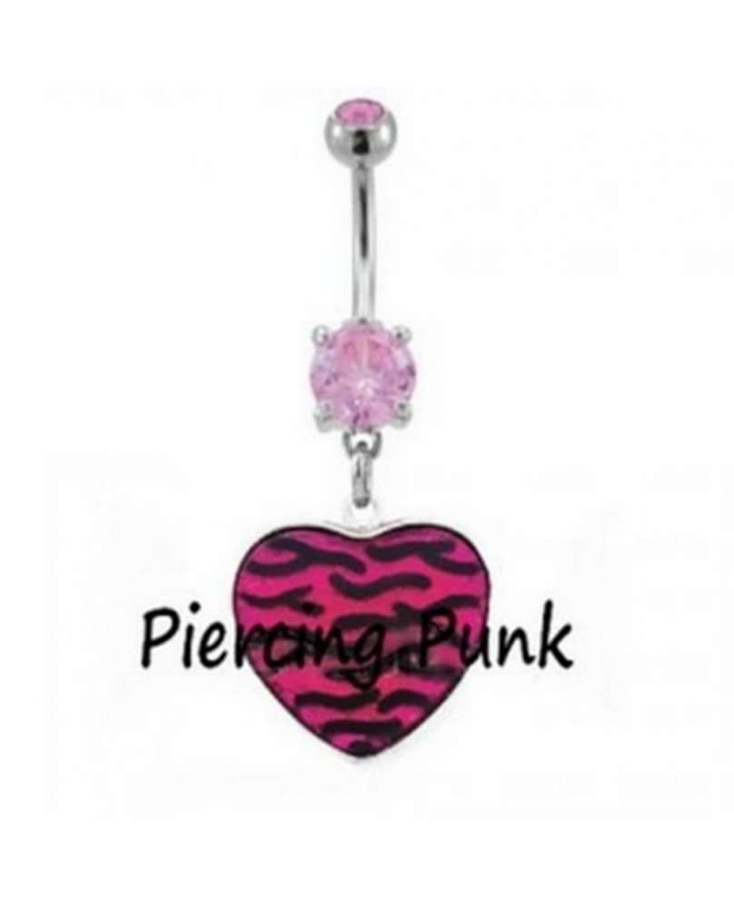 Piercing punk rose coeur zébré