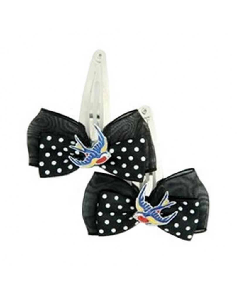 Barrette noire avec hirondelle multicolore.