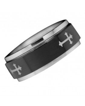 Bague stainless steel Gothic Cross