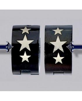 Anneaux noirs étoiles punk EDE021