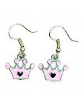 Boucle d'oreille Crown pink-black