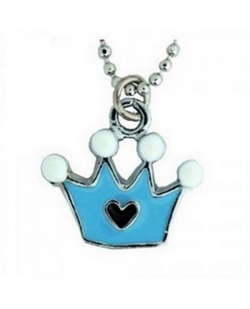 Pendentif couronne bleu
