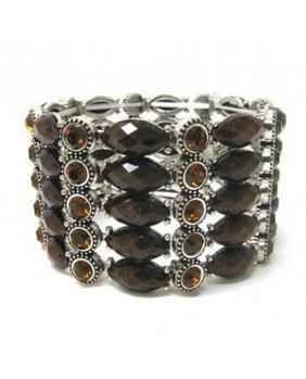 Bracelet fantaisie pierres marrons