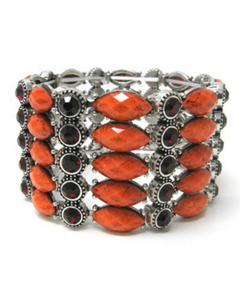 Bracelet fantaisie pierres oranges
