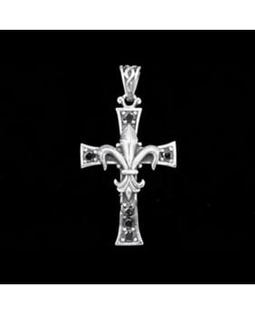 Pendentif croix et lys GJP012