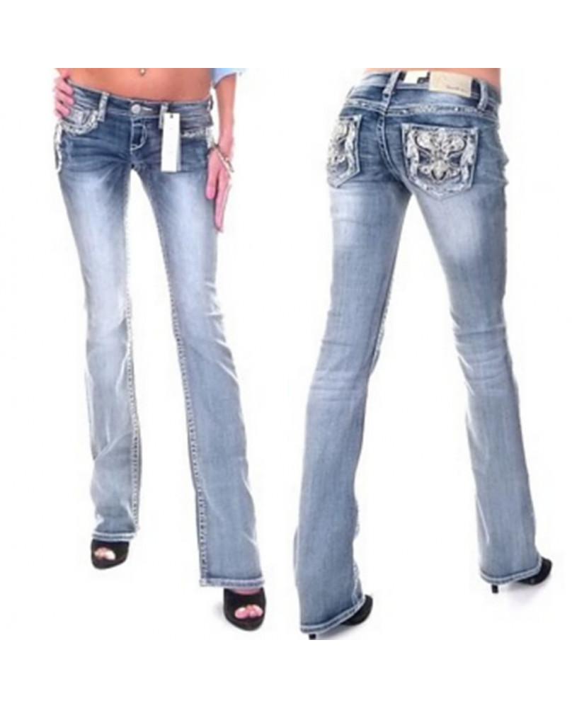 Jeans bleu avec broderie