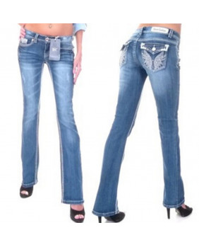 Jeans bleu avec motifs