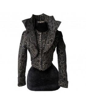 Veste gothique brocart noir et or col vampire