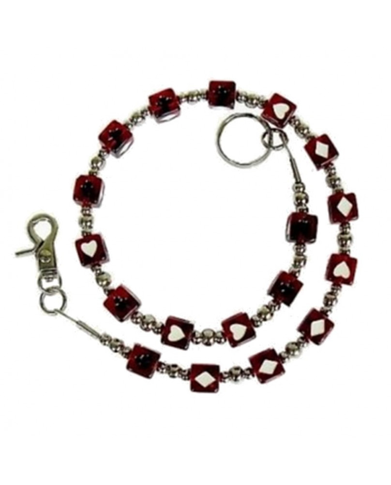 """Chaine de portefeuille """" poker red """""""