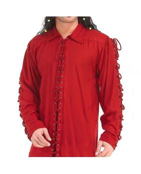 Chemise gothique médiévale rouge