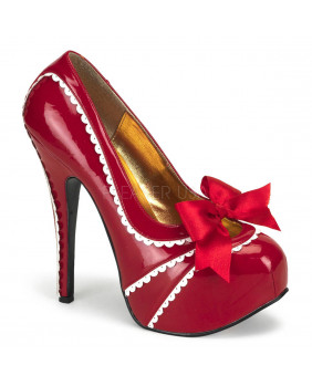 Escarpins rouges et blancs Gothiques Bordello TEEZE-14