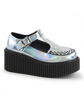 Demonia CREEPER-214 creepers argents en cuir Vegan