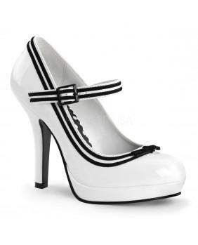 Pin Up Couture SECRET-15 escarpins Pin-up rockabilly blancs et noirs à talons hauts