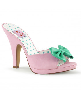 Pin Up Couture SIREN-03 sandales Vintages rétro roses et vertes à talons hauts