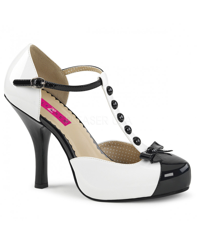 Talons Rétro Vintages Noires Pink Hauts Et Label 02 Blanches À Pinup Pleaser Sandales hQCBsdotrx