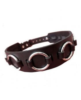Tour de cou cuir noir avec anneaux
