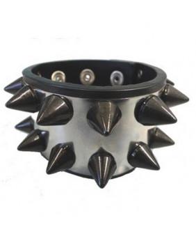 Bracelet double métal pics noirs