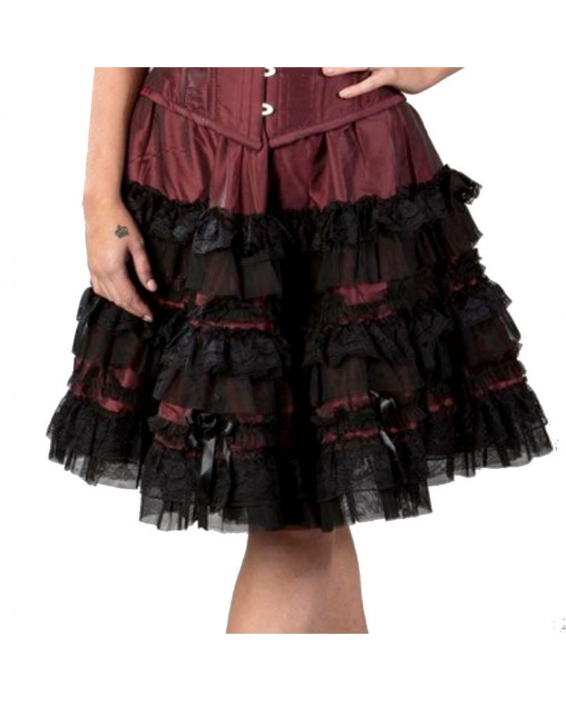 4698b2a39fae2e Jupe bordeaux en tafeta Lolita
