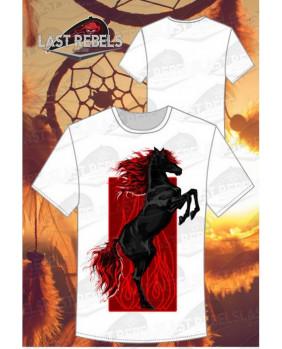 T-Shirt homme avec cheval noir et flammes