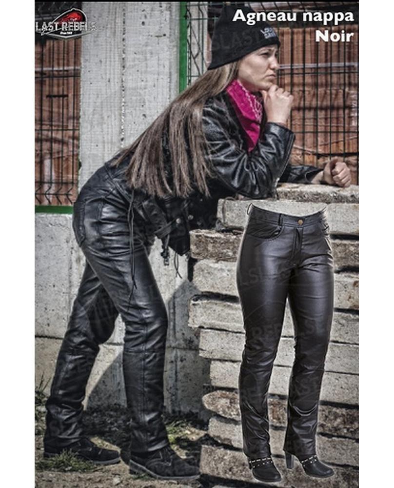 Femme Noir Pantalon Cuir En D'agneau wX8Pn0kZNO