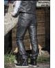 Pantalon femme en cuir d'agneau noir