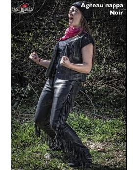 Pantalon cuir à franges pour femme