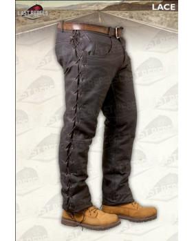 Pantalon marron à lacets en cuir de buffle