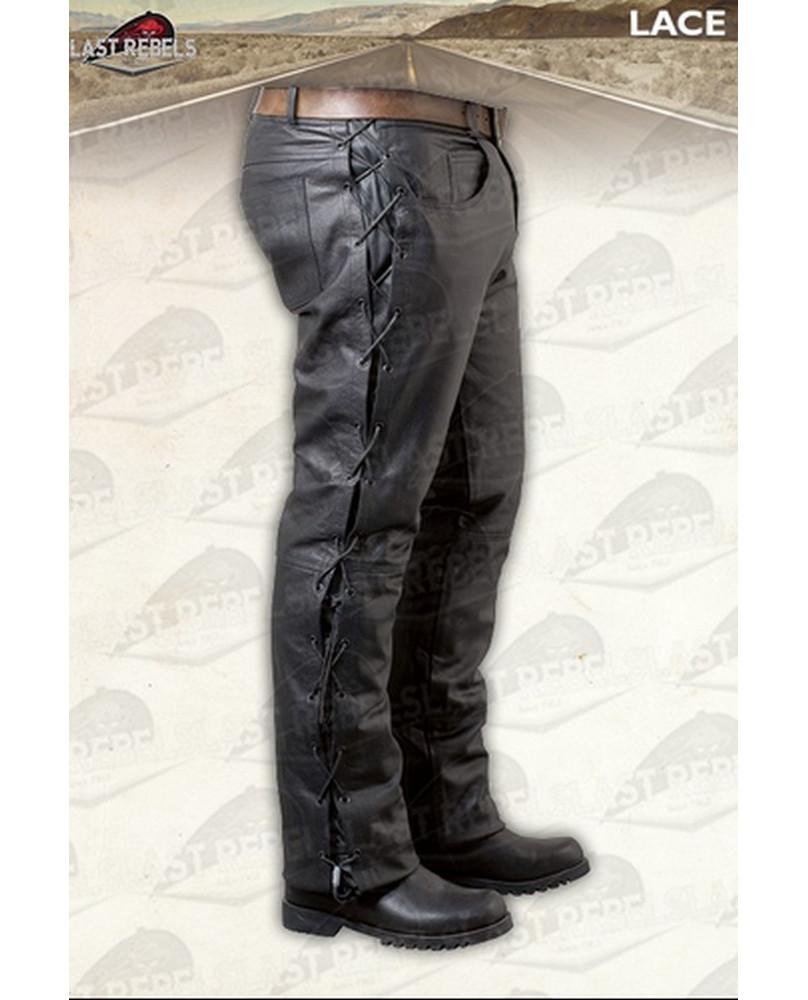Pantalon noir à lacets en cuir de buffle