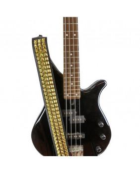 Sangle de guitare cuir et studs carrés dorés