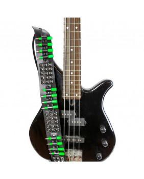 Sangle de guitare gothique cuir studs noirs/balles vertes