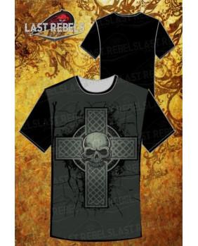 T-Shirt celtique noir croix celete et crane