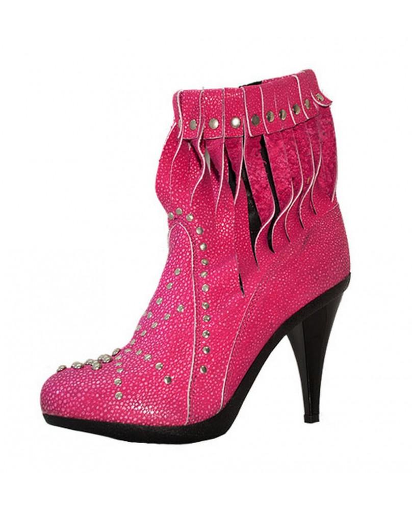 Bottine fashion à talon haut cuir rose SL-001-Z258 STELGROUND