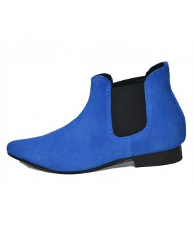 Boots Années Sixties bleues en cuir suédine Steelground