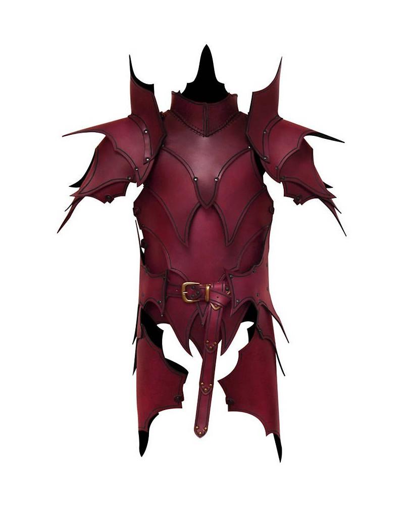 Armure elfique en cuir rouge