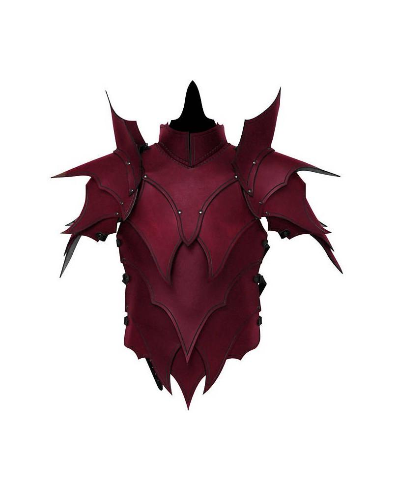 Armure Elfe noir en cuir rouge
