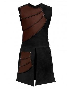 Armure archer en cuir marron et suédine