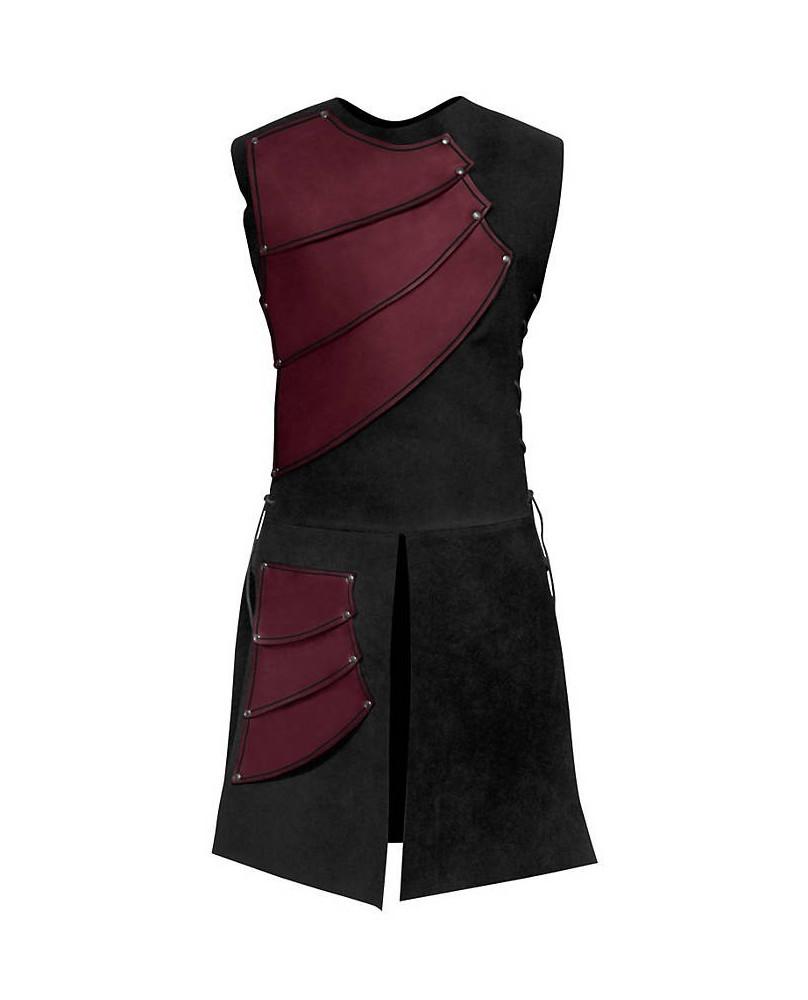Armure archer en cuir rouge et suédine