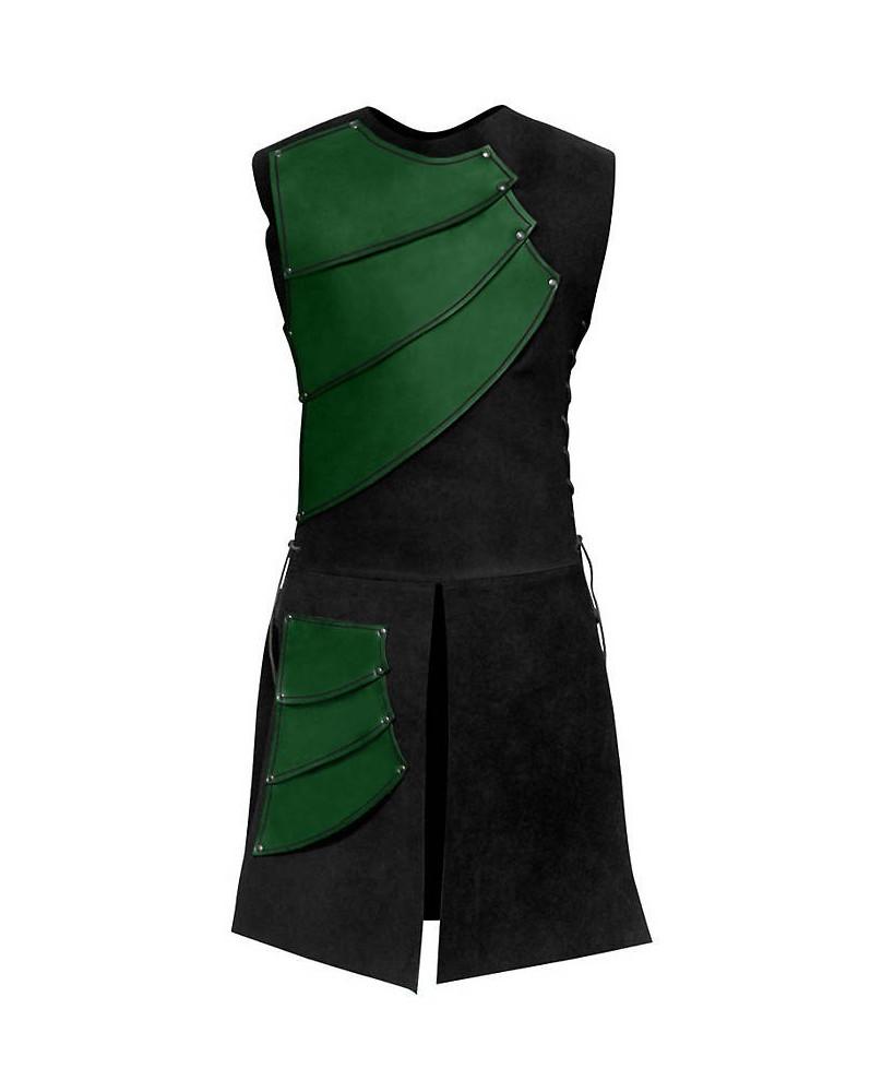 Armure archer en cuir rouge et suédine noire
