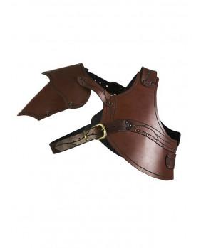 Protecteur de poitrine en cuir marron